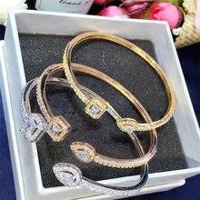 Hot sale Luxury Normal Cubic Zirconia Baguette Bracelet Bangles Jewelry Man Women Gold Color Cuff Bracelets Birthday Gifts B-022