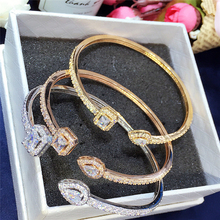 Hot sale Luxury Normal Cubic Zirconia Baguette Bracelet Bangles Jewelry Man Women font b Gold b