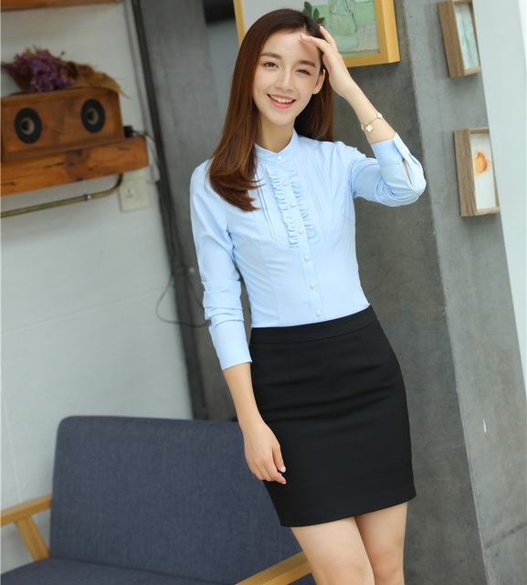 Us 31 32 5 Off Two Piece Sets Women Suits With Skirt And Blouse Sets Light Blue Shirts Tops Ladies Business Clothes Office Uniform Styles In Skirt