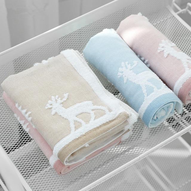 25X50Cm 100% Katoenen Handdoek Kerstboom Herten Patroon Chlid Baby Gezicht Hand Kerst Handdoek Soft Touch Quick droog Washandje