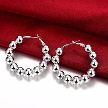 8mm Beads Creole big Circle round hoop earrings 925 silver Fashion Jewelry Brincos women party earrings jewelry недорого