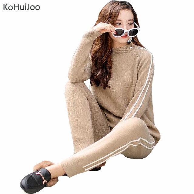 KoHuiJoo 2019 New Spring Plus Size Women Knitted Sweater Pants Set Cashmere Clothing Sets 2 pieces Knit Pants Suits Sporting