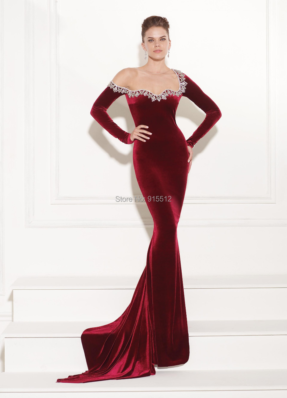 74c1341b1cf6 Special Prom Mature Lady Scoop Neckline Long Sleeve Evening Gown Models  Long Red Velvet Dress-in Prom Dresses from Weddings & Events on  Aliexpress.com ...