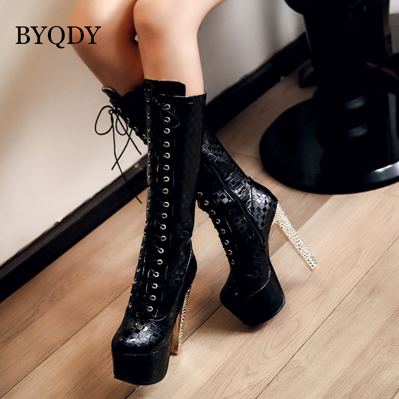 BYQDY Ladies Stiletto High Heels Thin Platform Mid Calf Boots Fashion Mother Shoes Leather Boots Round Toe botas mujer 2019BYQDY Ladies Stiletto High Heels Thin Platform Mid Calf Boots Fashion Mother Shoes Leather Boots Round Toe botas mujer 2019