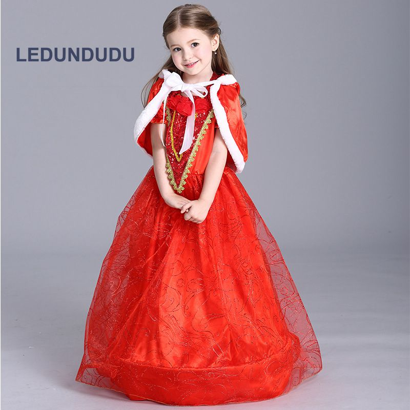 Kids Little Red Riding Hood Cosplay Dress Fair Tale Children Girls Fancy Party Costumes for Halloween