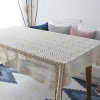 Fashion 100% Cotton Knitting Lace Tablecloth White Crochet Hollow Stitching Table Covers Home Party Wedding Table Decoration