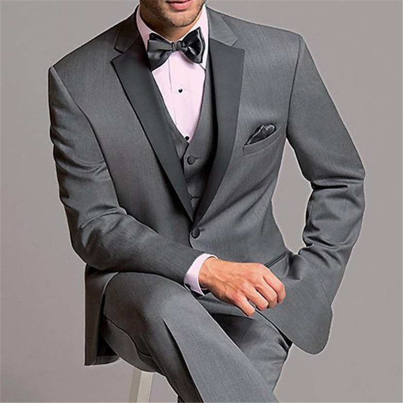 2019 New Arrival Grey Men Suit 3pieces Terno Bespoke Slim Notch Lapel Wedding Groom Custom Made Blazer (Jacket+Pant+Vest+Tie)