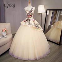 Colorful Embroidery Evening Ball Gowns Beige Light Yellow Prom Ball Gown Women Evening Formal Dresses Sleevesless Party Gowns