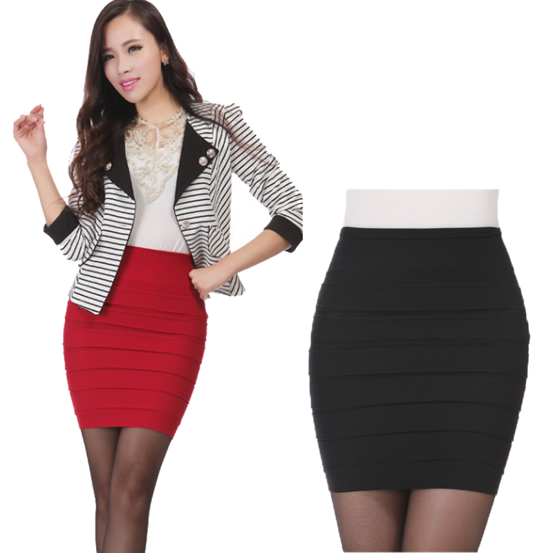 New pencil skirt Fashion 2020 Summer Women Skirt High Waist Candy Color Plus Size Elastic Pleated Sexy Short Skirt F3180