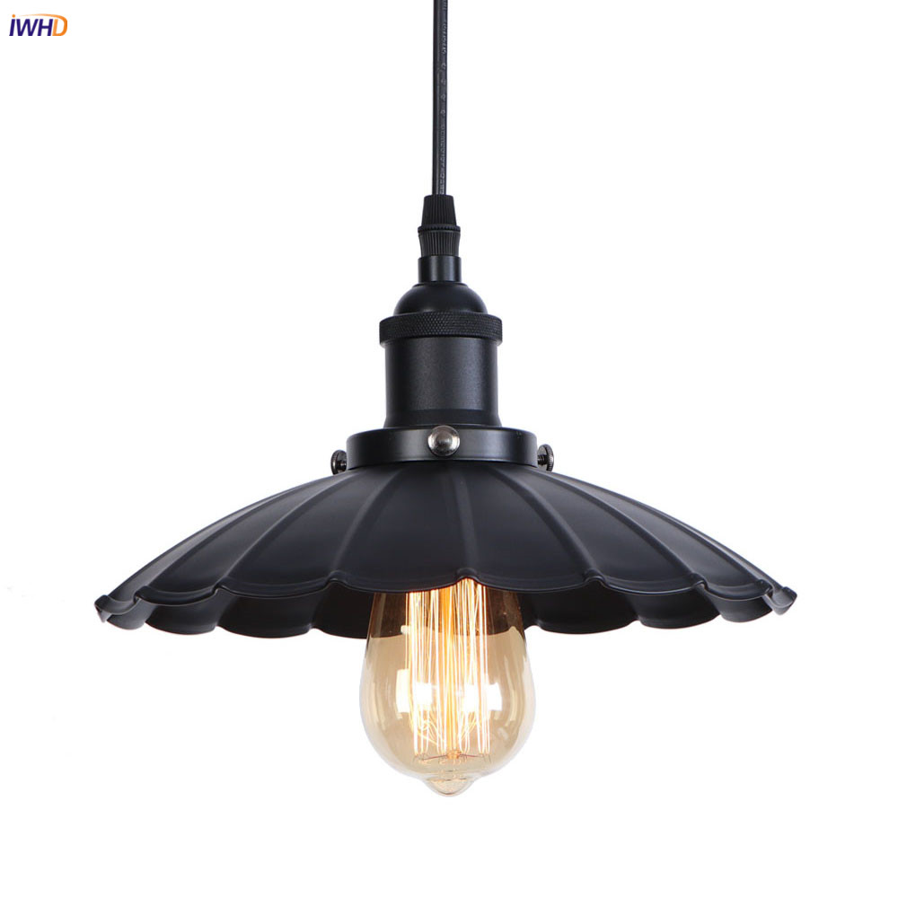 IWHD Black Loft Industrial Decor LED Pendant Light Fixtures Dinning Room Edison Vintage Lamp Hanging Lights Lampara Colgante iwhd nordic retro led pendant lights fixtures vintage lamp creative led edison loft industrial lighting lampara lampen
