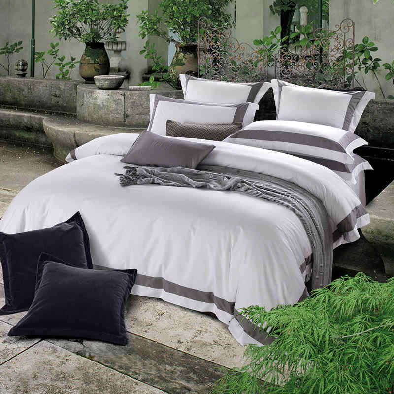 Premium Satin Egyptian Cotton Bedding Set 4-piece Hotel Style Square Framed  Duvet Cover Set Flat/fitted Sheet Sets Bed Linen