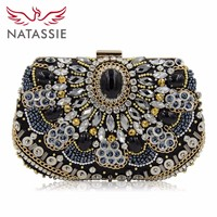 2015 High Quality Women Beaded Clutch Evening Bag With Stone Black Elegant Ladies Wedding Day Clutches