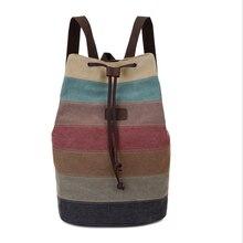 Raya de las mujeres mochilas de Lona de Empalme Bolso Del Cubo Retro Arco Iris Bolsa de alta calidad bolsa Con Cordón bolsillos Haz