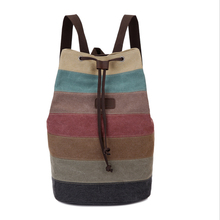 Women stripe backpacks Canvas Splicing Bucket Bag Retro Rainbow Bag high quality Drawstring bag Beam pockets
