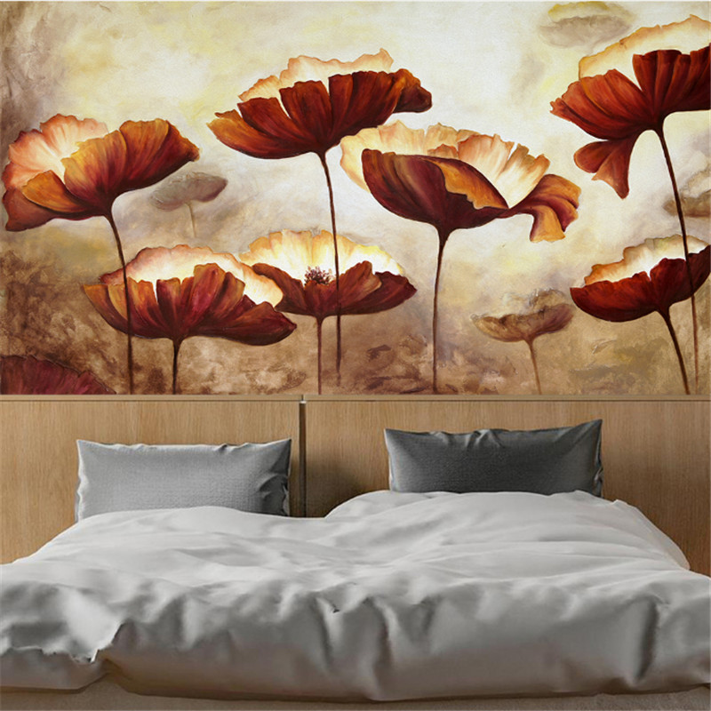 custom-made 3d photo non-woven wallpaper European vintage flowers hand-painted poppies 3d background wall murals for study room korean woman high heel pointed toe solid mujer pumps shallow mouth square heels womens shoes work office lady all match tacones