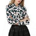 Осень Женщины Блузки Повседневная Шифон Рубашка Женщины Blusas Топы Sexy Vintage Длинным Рукавом Свободные Рубашки Печати Леопарда Плюс Размер 2016