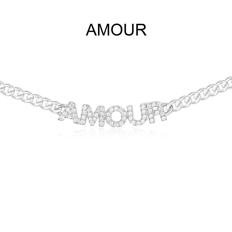 SLJELY Luxury Brand 925 Sterling Silver Letter AMOUR Chain Necklace Micro Cubic Zirconia Alphabet Choker Monaco Women Jewelry