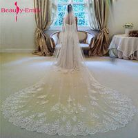 2017 Hot 3 Meters Long Wedding Veil Bridal Veils White / Ivory Lace Edge With Comb Wedding Accessories voile mariage