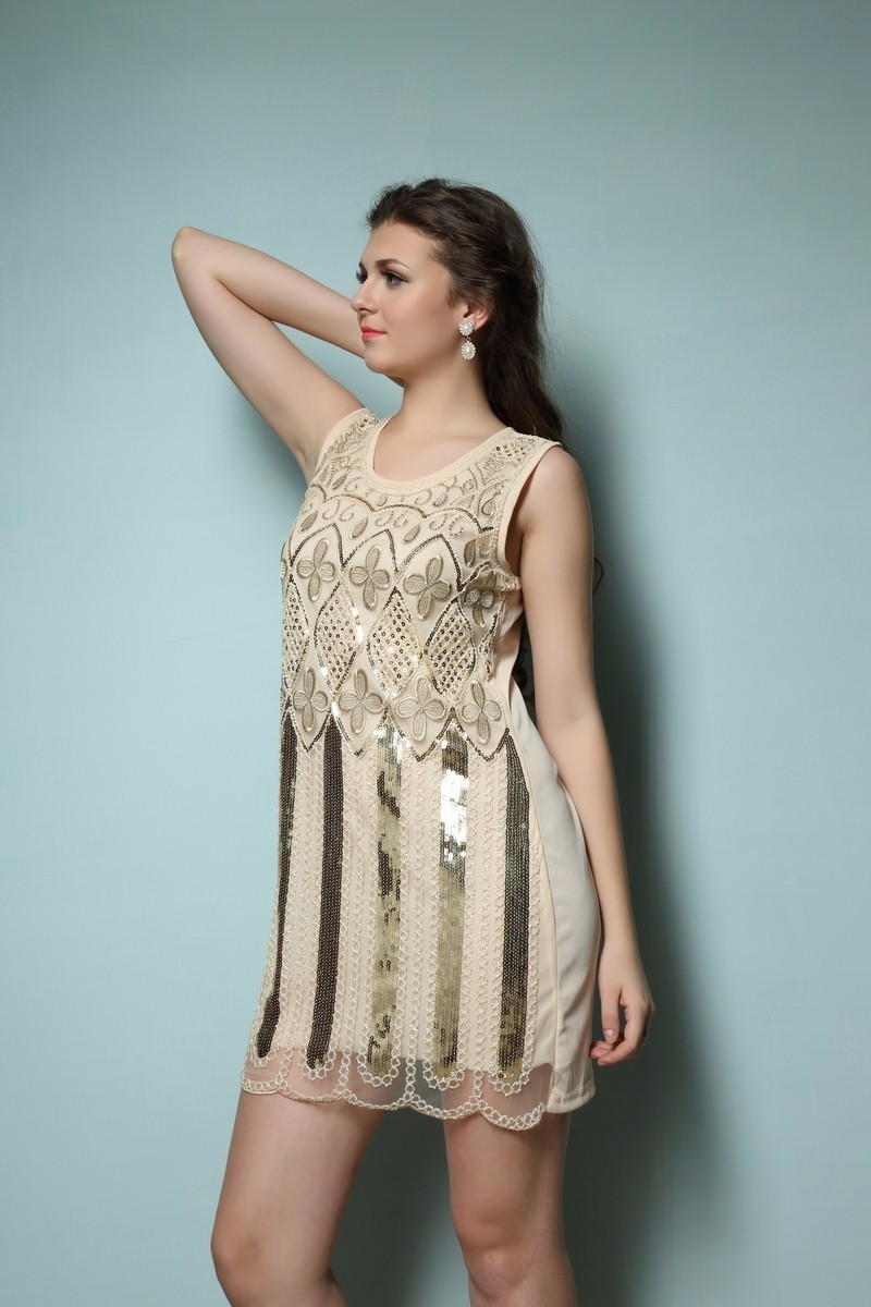 Women Gold Sequin 1920 Gatsby Flapper Dress Formal Cocktail Party ...