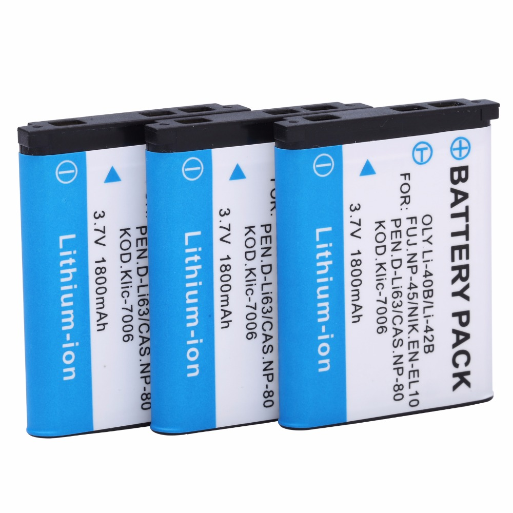 3Pcs Li 40B Battery for Olympus Stylus 760 770SW 720SW X 785 850 SW 720SW 725SW