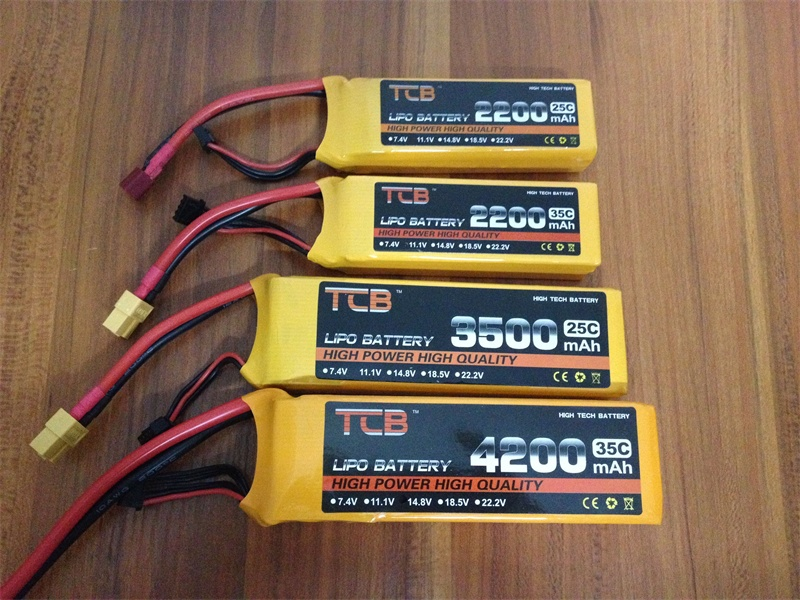TCB RC LiPo Battery 2s 7.4v 2200mah 2600mah 3500mah 4200mah 5200mah 25C 35C for RC airplane drone car Free shipping