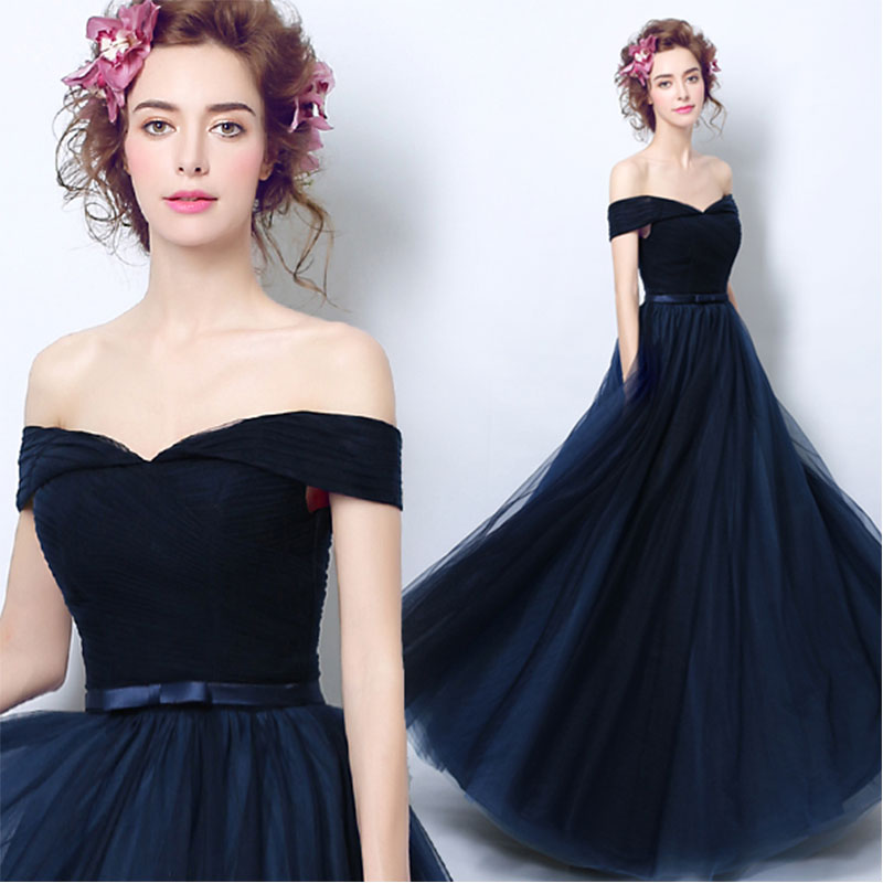 lamiabridal Navy Blue Off The Shoulder A-line   Bridesmaid     Dresses   Pleats Tulle Long Wedding Party   Dresses   Elegant For Women