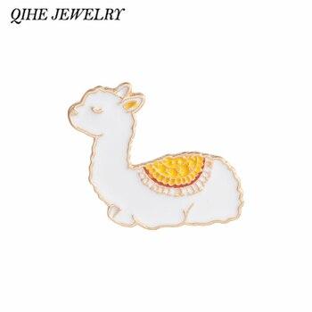 Joyería qihe Llama pins Lama Glama Alpaca lindo Kawaii pasadores de animales pines esmaltados sólidos para solapa broches para mujeres chica insignias