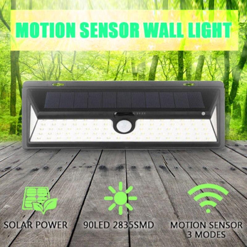 Newest 90 LEDs 900-1000LM Solar Power PIR Motion Sensor Outdoor Wall Light Yard Path Garden Lamp --