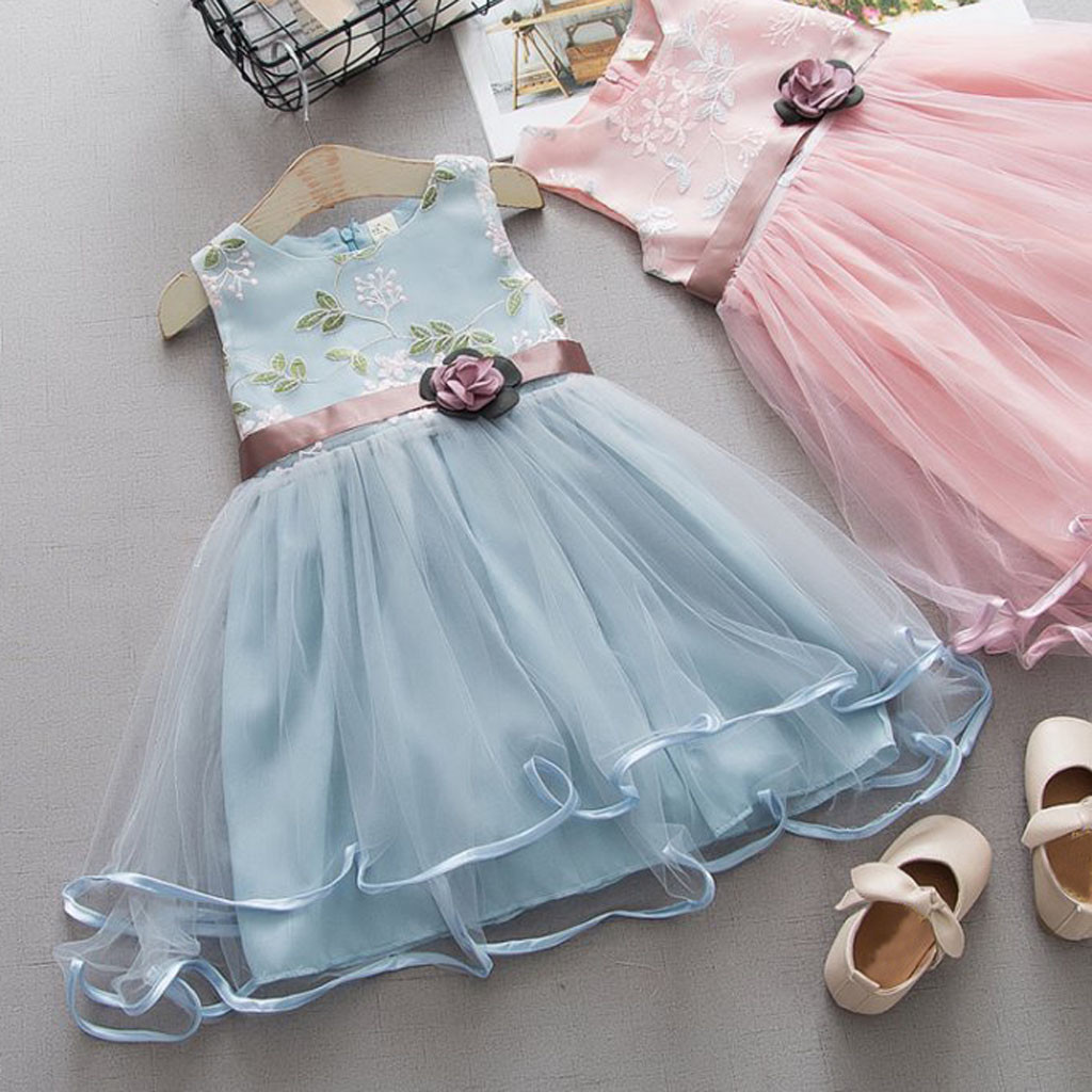 Toddler Kids Baby Girls Cute Princess Floral Tulle Party Dress Clothes Outfits