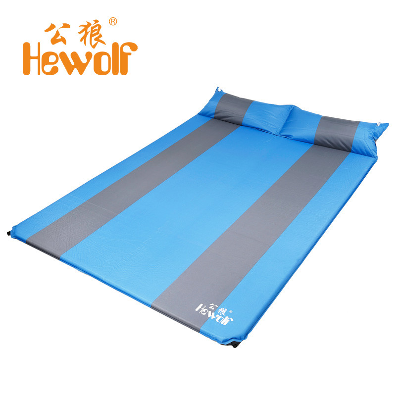 Hewolf 188*130*3cm Two Person Automatic Inflatable Mattress Outdoor Camping Fishing Mat Moistureproof Tent Bed Pad with Pillow hewolf 200 65 4cm high quality 4cm thickening single moistureproof comfortable camping outdoor mat with pillows can be spliced