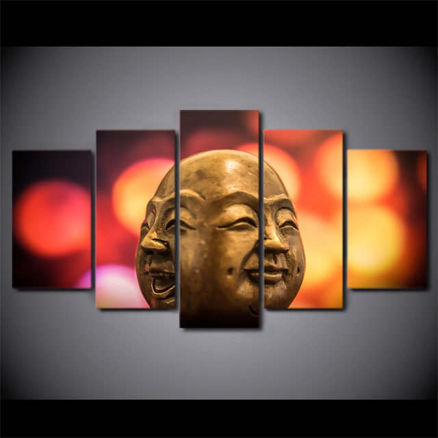 5 Piece Framed HD Printed Buddha Conflict Doll Face Canvas Artwork ...