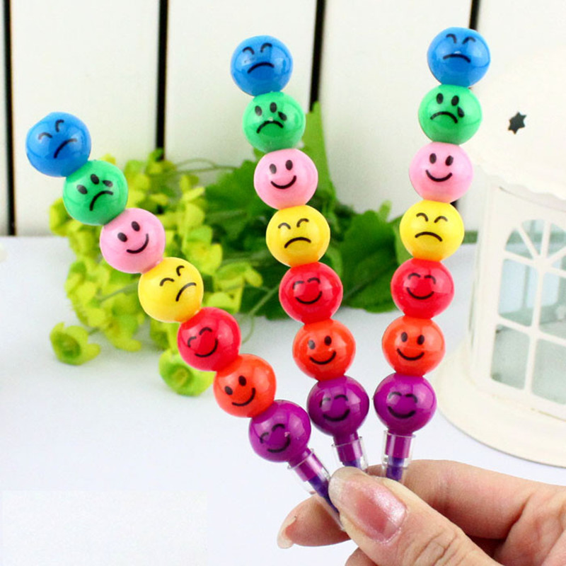 HOT NEW Details About New 7 Colors Cute Stacker Swap Smile Face Crayons Children Drawing Gift