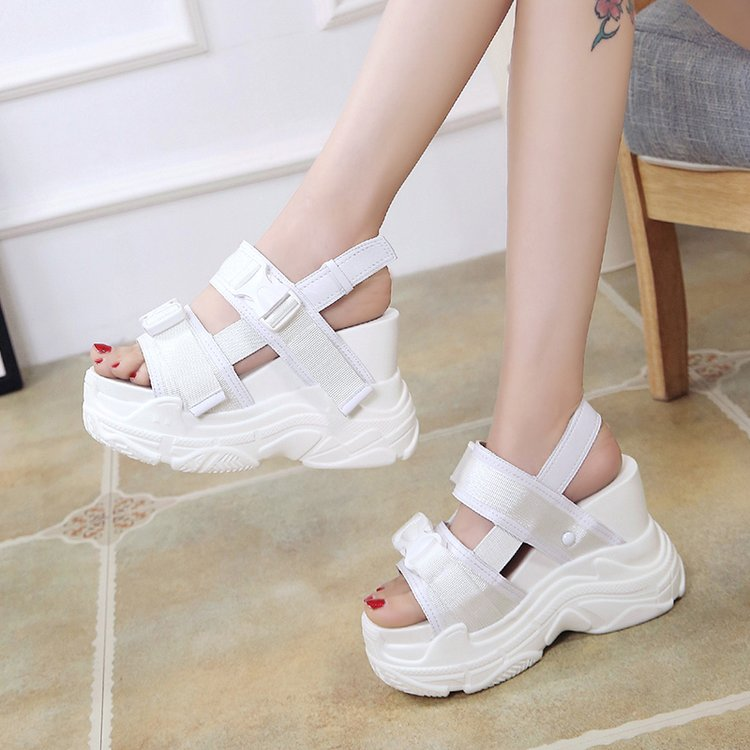 HTB1NK7ebiLrK1Rjy1zdq6ynnpXa2 Fujin High Heeled Sandals Female Increased Shoes Thick Bottom Summer 2019 New Women Shoes Wedge with Open Toe Platform Shoes