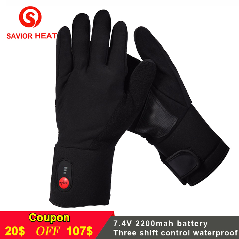 SAVIOR Winter Warm electric Battery heated Gloves Rechargeable for skiing fishing riding hunting keep hands warm men women savior outdoor motorbike battery heated glove fishing waterproof riding racing heating man warming 40 65 degree leather en13594