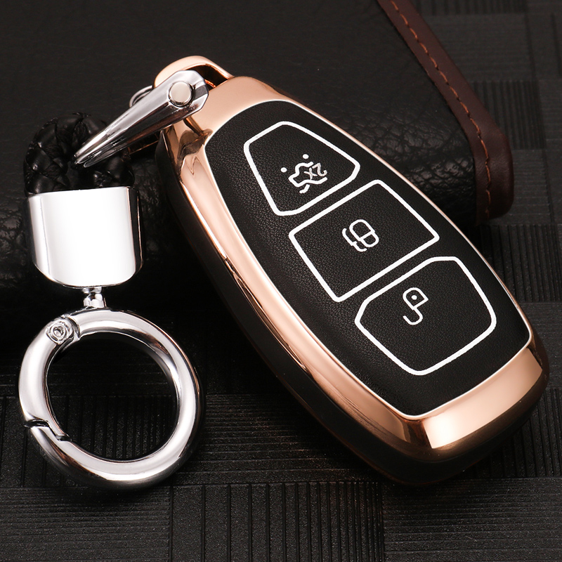 Compatible with fit for Ford Mondeo Focus 3 MK3 ST Kuga Fiesta Escape Ecosport Titanium B-Max Grand C-Max S-Max Galaxy 5buttons Leather Keyless Entry Remote Control Smart Key Fob Cover Case Protector MECHCOS 4347675985