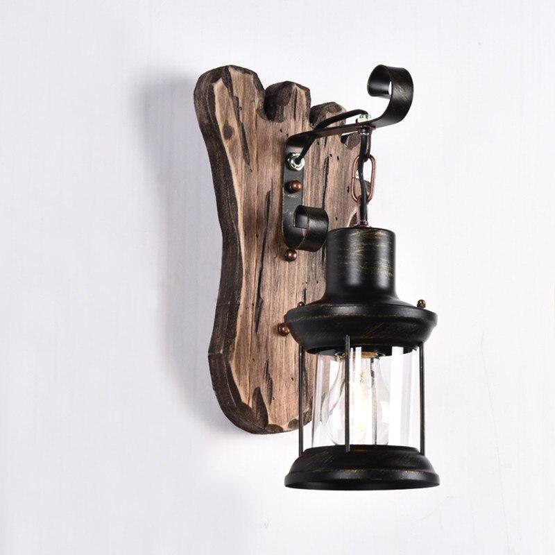 8 видов стилей LOFT ретро настенный светильник персонализированные твердой древесины ночники творческий ресторан кафе Гостиная Бар