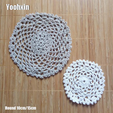 HOT Round Lace cotton table place mat pot pad Cloth crochet dining placemat cup mug tea coaster handmade wedding doily kitchen
