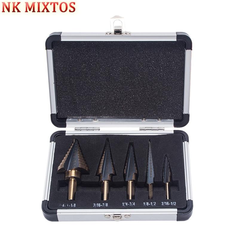 NK MIXTOS 5 PCS Hss Cobalt Multiple Hole Step Drill Bit Set 1/4'' -1 3/8'' 3/16''-7/8'' 1/4''-3/4'' 1/8''-1/2'' 3/16''-1/2'' аксессуары для скрипок other 2015 1 8 1 4 1 2 3 4 4 4 445