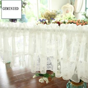 Image 2 - Short Tulle Curtains for Kitchen Finished White Floating Tulle Sheer Yarn Curtain Rod Pocket for Cabinets Short Curtain for Cafe