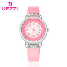 Kezzi Girls Kids Watches Rhinestone Flower Leather strap Wristwatches For Student Cartoon Quartz-Watch Clock montre enfant