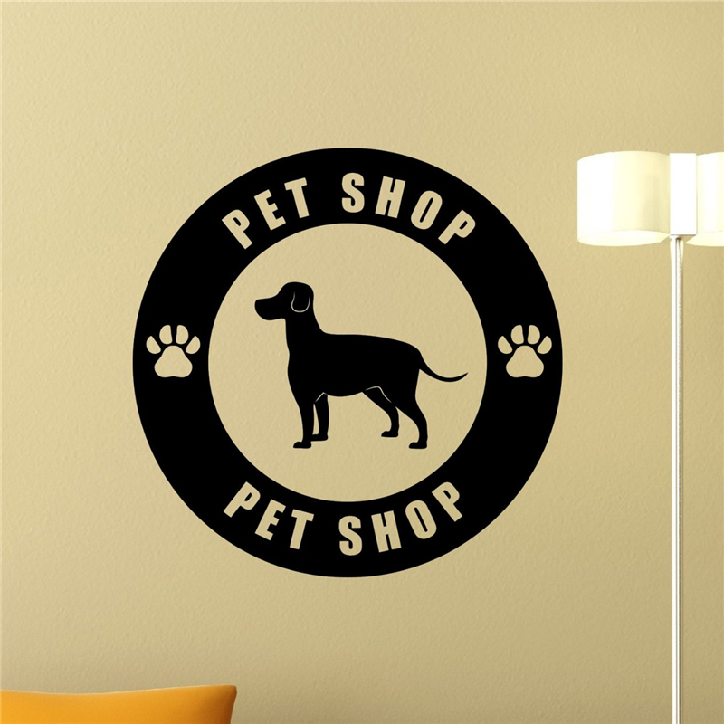 Pet Shop Logo Wall Decal Pet Care Dog Home Decor Wall Sticker Animal ...