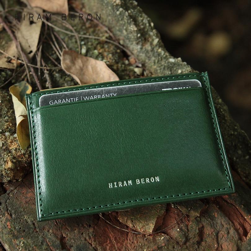 Hiram Beron Bloqueador de tarjetas RFID de cuero RFID Hombres ID Personalizado Mini Cartera Vegetal Curtido de Cuero de Cuero Genuino Titular