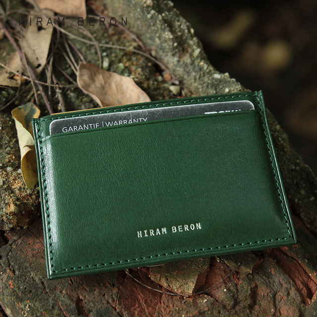 Hiram Beron RFID Blocking Leather Card Holder Men Custom ID Mini Wallet Vegetable Tanned Leather Genuine Leather Purse dropship