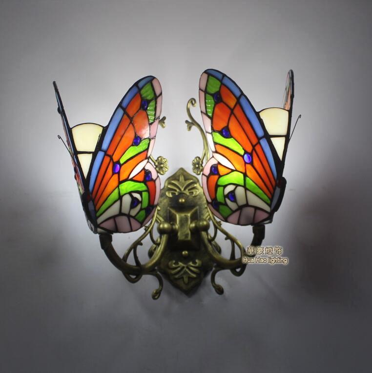 Тиффани барокко Бабочка Старинные витражи Стекло гладить Русалка бра внутреннего освещения прикроватные лампы бра для дома