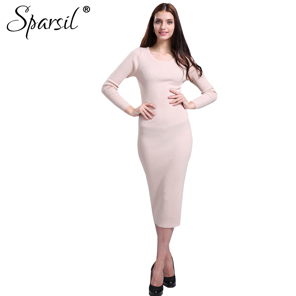 Sparsil Women Winter Cashmere Blend Knitted Long Dress Autumn Fashion Lady Solid Colors Evening Party Dresses