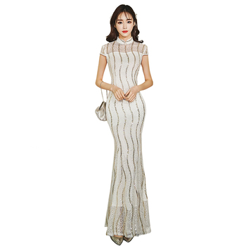 2019 Fashion Long Cheongsam Chinese style Mandarin Collar Dress Womens Summer Qipao Slim Party Dresses Vestido S-XXL