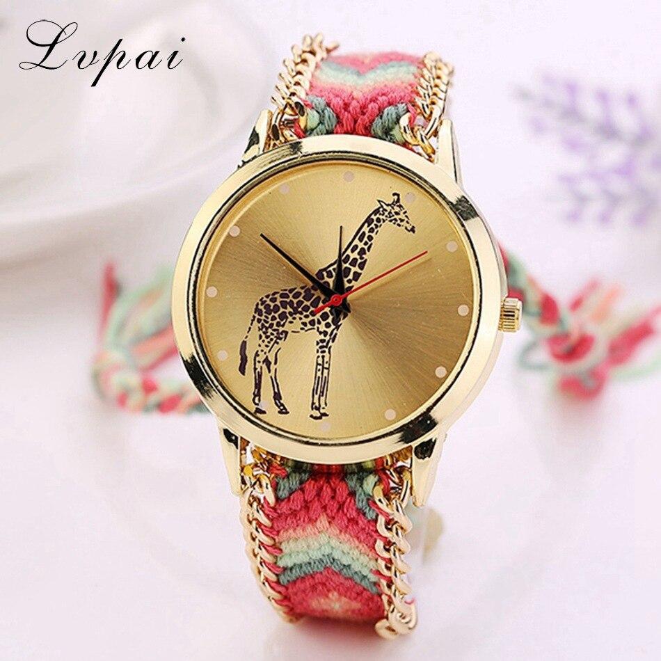 Lvpai Top Brand Handmade Braided Fashion Casual Watches Gold Wristwatch Ladies Chinese Style Cartoon Dress Quartz Watch LS028