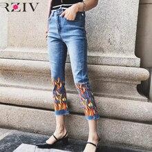 RZIV 2017 джинсы женщина случайные сплошной цвет джинсы ковбой пламя печати рог узкие джинсы женщина