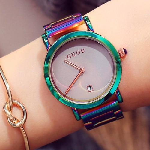 New GUOU Wrist Watches Fashion Colorful Stainelss Steel Watch Women Watches Luxury Women's Watches Clock Saat Relogio Feminino