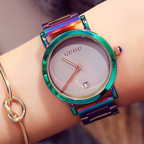 New GUOU Wrist Watches Fashion Colorful Stainelss Steel Watch Women Watches Luxury Womens Watches Clock Saat Relogio FemininoNew GUOU Wrist Watches Fashion Colorful Stainelss Steel Watch Women Watches Luxury Womens Watches Clock Saat Relogio Feminino